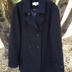 Mens Calvin Klein Black Wool Coat